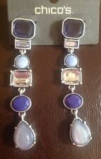 """CHICO'S SIGNED SOPHIE ANTIQUE SILVER PURPLE CRYSTAL 3"""" LINEAR Earrings- $29-NWT"""