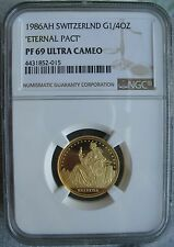 "Switzerland 1986 AH Gold 1/4 Oz NGC PF-69 Ult. Cameo ""ETERNAL PAST"""