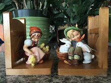 Vintage M I  Hummel Playmates & Chick Girl 61 A & B Bookends Full Bee Mark