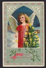 Christmas-EAS-Beautiful Angel-Tree-Gel-German-Antique Postcard