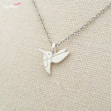 Solid 925 Sterling Silver Tiny Cute Hummingbird Humming Bird Pendant Necklace