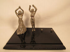 Art Deco Spanish Flamenco Dancers Metal Figurines Onyx Base Desk Display