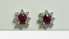 NATURAL 1.0 CTW RUBY AND 1/4 CTW DIAMOND EARRINGS in 10K YELLOW & WHITE GOLD
