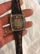 Judith Ripka Sold Out New Brown Croc Watch Diamonique Crystals  Gorgeous