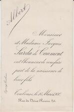 1900 Faire-part naissance Albert SARDA de CAUMONT - Toulouse (Haute-Garonne).