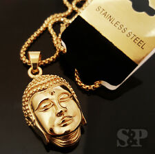 "New Gold Stainless Steel 3D BUDDHA HEAD Pendant w/ 24"" Round Box Chain Necklace"