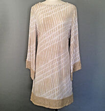 NWT Michael Kors Dress L Jersey Beige Ivory Chino Crochet Lace Trim New $150