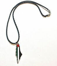 Palestine Map - Flag Colors W/Cities Names on the Back on Black Necklace