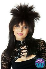 WILD PUNK 80'S BLACK FEMALE ROCKSTAR SPIKY COSTUME WIG, New, Mullet, Vamp