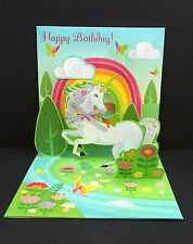 Happy Birthday Unicorn Rainbow Greeting Card 3D Pop Up Treasures