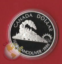 1986 PROOF A SILVER CANADA ONE DOLLAR COIN - Comes in Capsule Only - Train