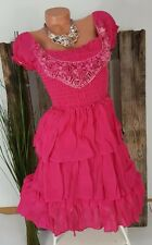 NEU SÜSSES EMPIRE SOMMER STUFEN KLEID VOLANTS BLUMEN APPLIKATION PINK 34 36 38