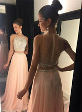 2016 Two Piece Cocktail Dress Long Beads Evening Pageant Prom Formal Party Gown