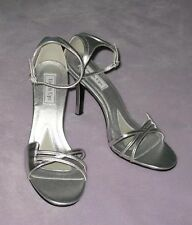 9.5 Medium Open Toe with Ankle Straps Touch Ups High Heels Silver Metallic