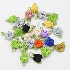 DIY Satin Ribbon Rose Mini Flower Appliques/craft/Wedding~Craft/Trim 50PCS 18mm