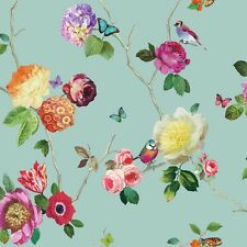 889800 Charmed Teal Stunning Flowers & Birds design wallpaper by Arthouse
