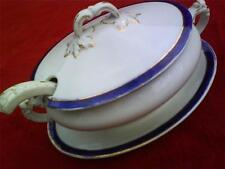 Vintage blue gold and white soup tureen and matching ladel