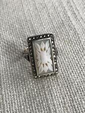 Amazing vintage LARGE cameo flower ring SILVER marcasites set