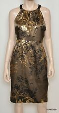 Nwt $248 Tahari *PEARL* Stretch Lined Dress Top Tunic ~Caramel/Gold *6