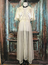 Val Mode Robe Long Lace See Through Robe Lingerie Wedding Ivory Size Large L B30