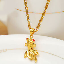 Fashion Jewelry 24K Gold Yellow Filled Plated Goldfish Pendant Chain Necklace