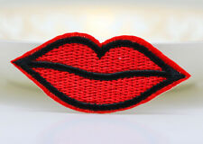 6 pcs Red lips kiss Pattern Embroidered Cloth Iron On Patch Sew Motif Applique