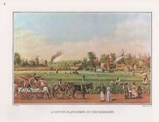 1972 Vintage Currier & Ives MISSISSIPPI COTTON PLANTATION Color Print Lithograph