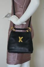 REDUCED Paloma Picasso Navy Leather Shoulder Crossbody Bag Gold Logo Hardware