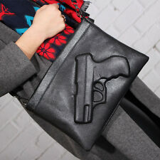 New Popular Women Designer 3D Gun Shoulder Punk Rock Pistol Handbag Purse Bag