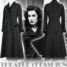 VINTAGE LAURA ASHLEY COAT BLACK 12 14 10 38 40 8 6 40s WAR BRIDE VICTORIAN VAMP
