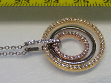 Amazing Yellow Gold Rose Gold & Silver CZ Pave Set Round Pendant+ Chain Necklace