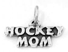 "SILVER HOCKEY MOM CHARM W/18"" BOX CHAIN NECKLACE"