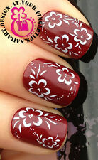 NAIL ART DECORATION WRAP WATER TRANSFER DECALS WHITE HIBISCUS FLOWER LEAVES #143