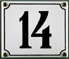 """Weiße Emaille Hausnummer """"14"""" 14x12 cm Hausnummernschild sofort lieferbar Schild"""