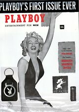 PLAYBOY DECEMBER 1953 REPRINT FACTORY SEALED & VINTAGE PLAYBOY LEATHER KEY CHAIN