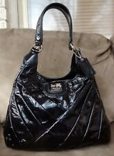 Rare Coach Maggie Madison Op Art Black Patent Gathered Leather Hobo Purse