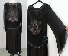 VTG 20s Beaded Flapper Dress Black Silk Evening Cocktail Party Art Deco XS