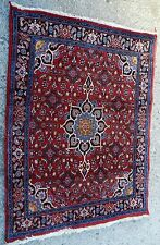 Vintage handmade Wool Oriental Rug Malayer Persian Tabriz Carpet 4x5 RICH Pile