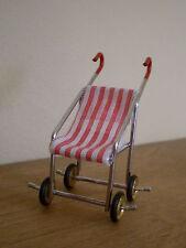 Dollshouse miniature ~ rouge & blanc à rayures ~ buggy poussette