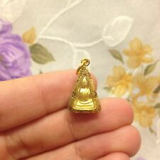 Mini Phra Somdej Nang Phaya Thai Amulet Micon-Gold Plated Luck Rich Protect