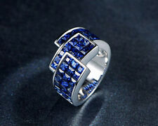 Solid 14K WHITE GOLD Natural Blue Sapphire Engagement Wedding Jewelry Nice Ring
