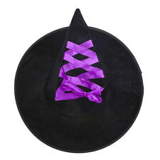 Lux Accessories Black and Purple Lace Up Ribbon Halloween Witch Hat
