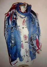 I Love London Patriotic Souvenir Blue Scarf London Red Buses and Taxis