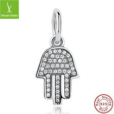 925 Sterling Silver White Clear CZ Charms Pendants With Palm-Shaped Hamsa Dangle