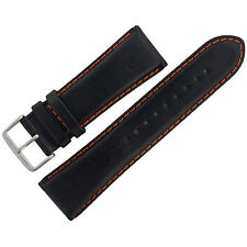Assorted Watch Strap 27mm Black Leather with Orange Stitching ASRTSTRP1
