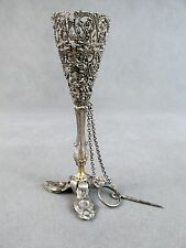 19thc STERLING Silver TUSSIE MUSSIE Posy Holder~~Filigree 3-Footed w/Ring & Pin