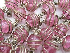 † SUPER VINTAGE UNIQUE COMPLETE WIRE WRAPPED PINK HALO ROSARY ROSARIO NECKLACE †