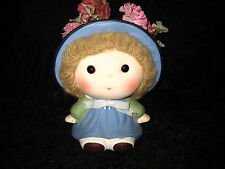 SWEET CLAY GIRL FIGURINE WITH A SECTION IN BACK FOR FLOWERS - ESTATE SALE FIND!