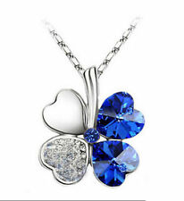 Wholesale Clover blue crystal beads Pendants  necklace silver color Jewellery
