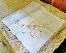 Antique Square Linen Tablecloth or Topper Embroidered Pastel PANSIES Hemstitched